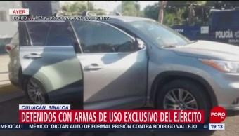 FOTO: Detenidos con armas de uso exclusivo del Ejército en Culiacán, Sinaloa, 2 febrero 2019