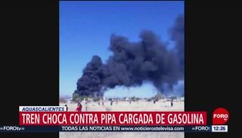 Dos muertos por choque de tren con pipa de gasolina
