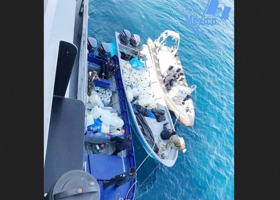 Foto: Aseguran más de media tonelada cocaína costas Oaxaca, 5 de febrero 2019. Twitter @SEMAR_mx