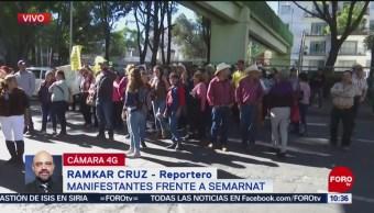 Ejidatarios de Sonora protestan frente a Semarnat