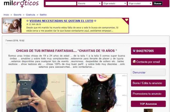 El periódico Vanguardia entró al sitio MilEroticos para atestiguar la publicación denunciada por las mujeres de coahuila (Vanguardia)