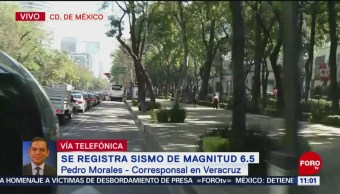 Evacuan edificios de Veracruz por sismo de 6.5