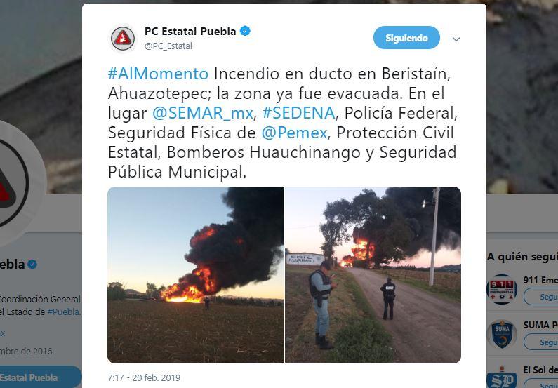 Foto: Explota ducto en Beristaín, Ahuazotepec, en Puebla 20 febrero 2019