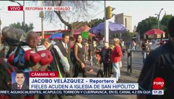 Foto: Fieles acuden a la Iglesia San Hipólito; afectan circulación en la zona