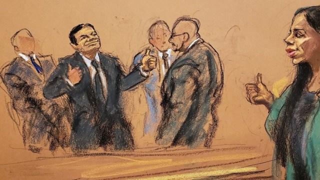 """Foto: Boceto del juicio de Joaquín """"El Chapo"""" Guzmán en una corte de Nueva York, EEUU, del 12 de febrero de 2019"""