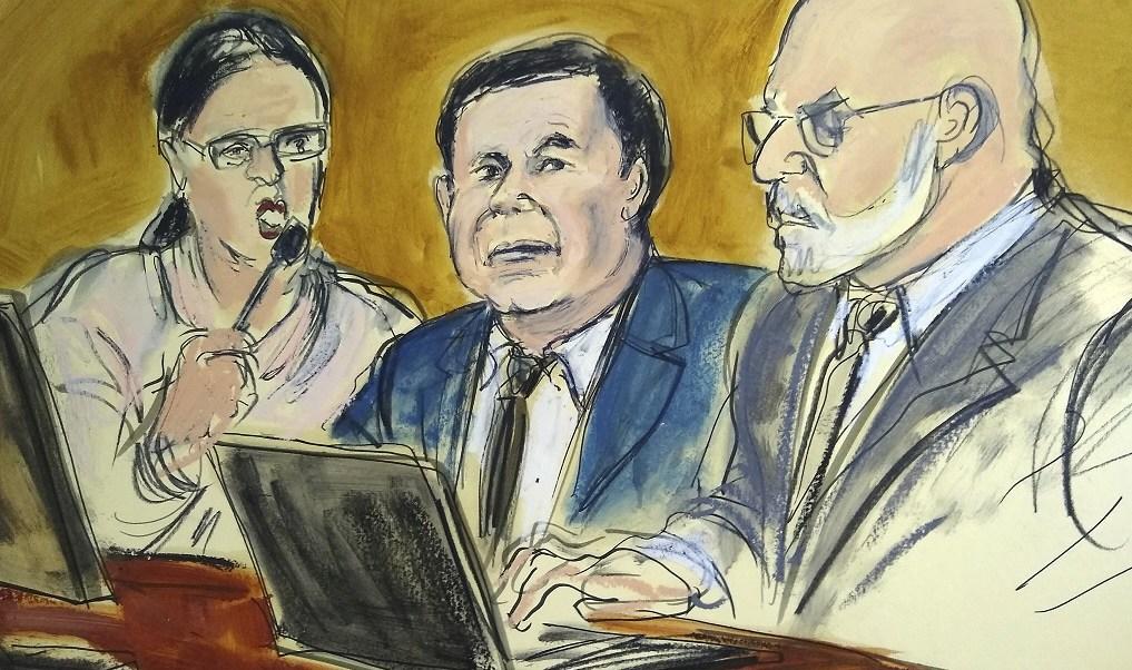 """Foto: Boceto del juicio en una corte de Nueva York, EEUU, de Joaquín """"El Chapo"""" Guzmán del 7 de febrero de 2019"""