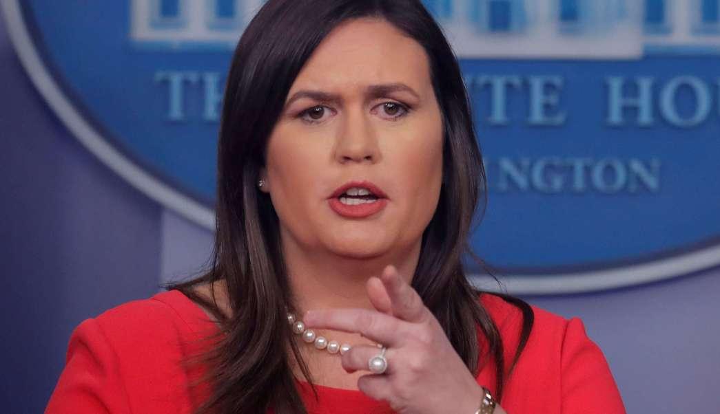 Foto: Sarah Sanders, portavoz de la Casa Blanca, durante una conferencia de prensa el 28 de enero del 2019