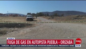 Fuga de gas LP en autopista Puebla-Orizaba