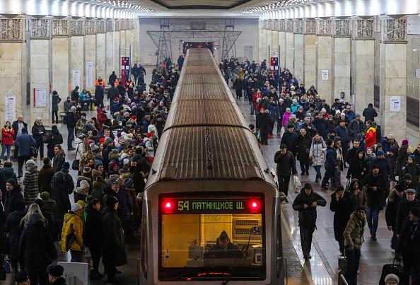 Un tren de pasajeros en Moscú.