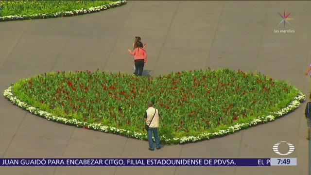 Gobierno CDMX cubre Zócalo con corazones de flores
