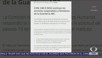 Foto: IMSS restituye servicios a familiares afectados por incendio de Guardería ABC