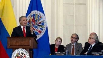 fOTO:El presidente colombiano Iván Duque se dirige al Consejo Permanente de la Organización de Estados Americanos durante una visita oficial a la sede de la OEA en Washington, 15 febrero 2019