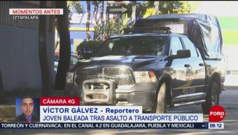 Joven herida durante asalto a transporte público