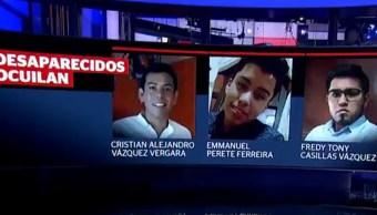 Nada se sabe de Christian, Emmanuel y Tony, secuestrados en Ocuilan