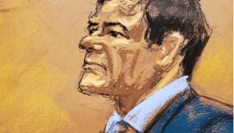 Foto: Dibujo de Joaquín El Chapo Guzmán durante su juicio 12 febrero 2019