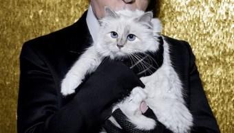Karl Lagerfeld y Choupette en 2017, después de recibir la medalla Vermeil en el show AW17 Couture (Dazed)