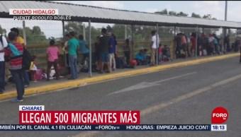 Foto: Llegan 500 migrantes centroamericanos a Chiapas