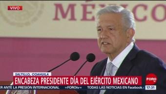 Foto: López Obrador encabeza conmemoración del Día del Ejército