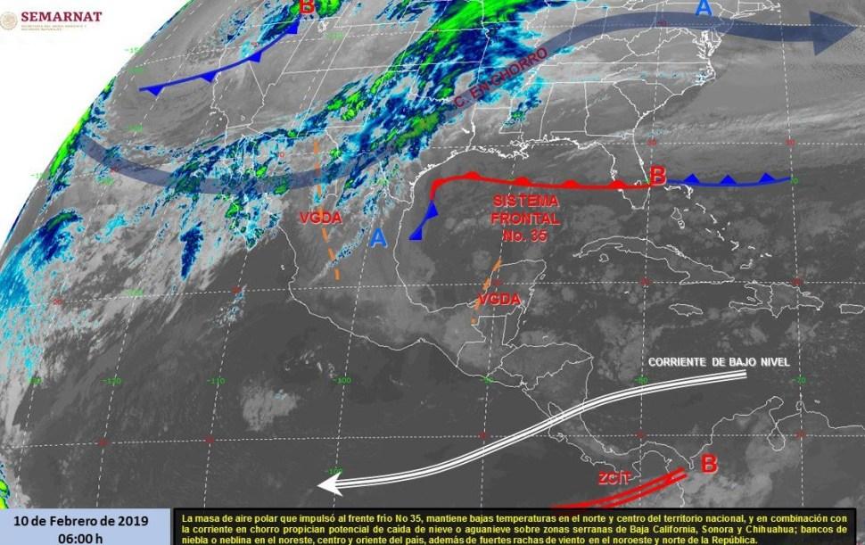 Imagen de los fenómenos meteorológicos significativos de las 06:00 horas, 10 febrero 2019