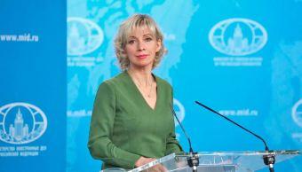 Foto: La portavoz del Ministerio de Asuntos Exteriores de la Federación de Rusia, María Zajárova. ofrece una rueda de prensa, 7 febrero 2019