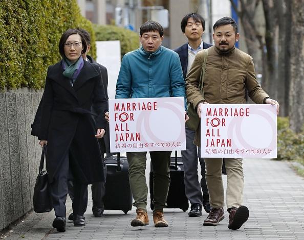 Foto: Los demandantes se dirigen al Tribunal de Distrito de Osaka, Japón, 14 febrero 2019