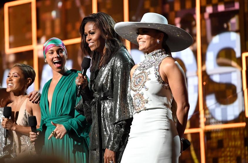 Foto: Michelle Obama aparece por sorpresa en la 61 edición de los premios Grammy, Estados Unidos, febrero 10 de 2019 (Getty Images)