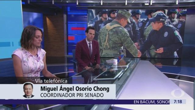 Osorio Chong: Legisladores del PRI votarán en unidad sobre Guardia Nacional