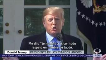 Un periódico japonés reveló que el primer ministro Shinzo Abe nominó a Donald Trump para el Nobel de la Paz por sus esfuerzos para la desnuclearización de Corea del Norte