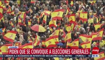 FOTO: Protestas en Madrid piden elecciones anticipadas en Cataluna, 10 febrero 2019