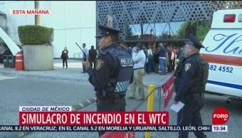 Foto: Realizan, simulacro de incendio, WTC, CDMX