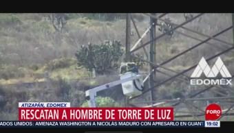 FOTO: Rescatan a hombre de torre de luz en Atizapán, Edomex, 2 febrero 2019