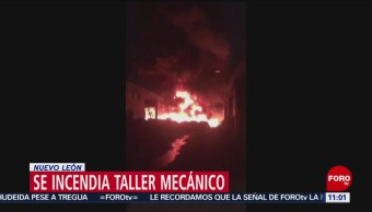 Se incendia taller mecánico en Nuevo León