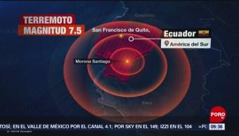Se registra sismo de magnitud 7.5 en Ecuador