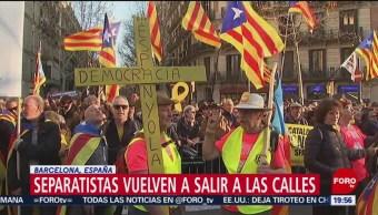 FOTO: Separatistas vuelven a salir a las calles en Barcelona, España, 16 febrero 2019