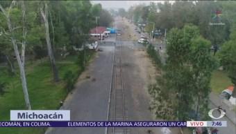 Sigue bloqueo de la CNTE en Caltzontzin y en Pátzuaro