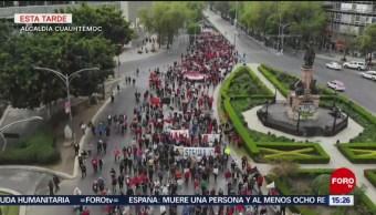 Foto: Trabajadores de la UAM marchan a la SEP
