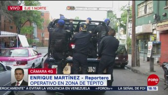 Foto: Tras reporte de balazos, realizan operativo en Tepito