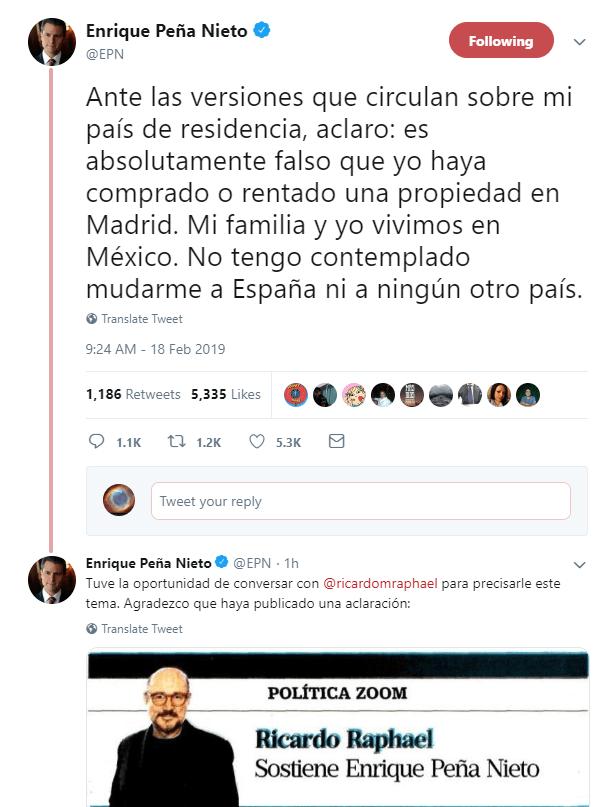 IMAGEN Tuit de Peña Nieto sobre la columna de Ricardo Raphael / mexico Twitter @EPN 18 febrero 2019