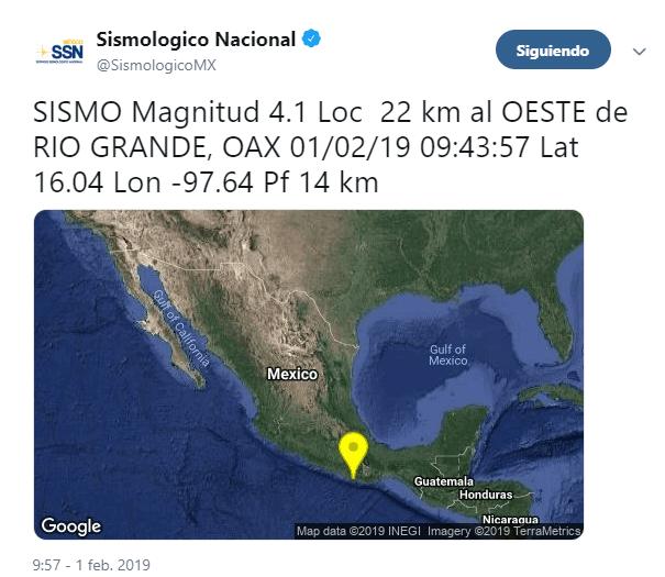 IMAGEN Se percibe sismo ligero en CDMX 1 feb 2019