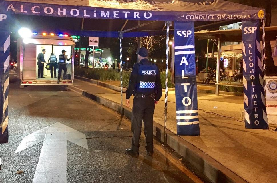Foto: Filtro vehicular de puntos del alcoholímetro en CDMX, marzo 30 de 2019(Twitter: @SSP_CDMX)