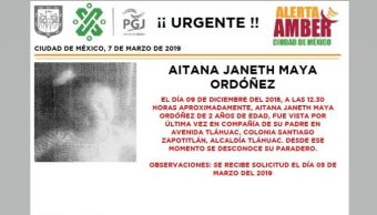 Foto: Alerta Amber para localizar a Aitana Janeth Maya Ordóñez 7 marzo 2019
