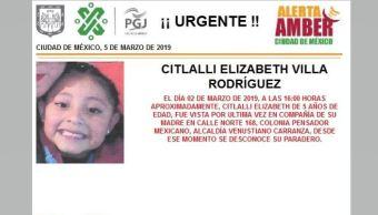 Foto: Alerta Amber para localizar a Citlalli Elizabeth Villa Rodríguez 6 marzo 2019