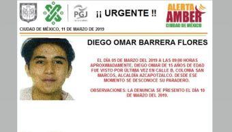 Foto:_ Alerta Amber para localizar a Diego Omar Barrera Flores 11 marzo 2019