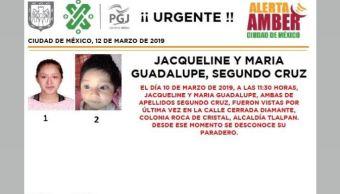 Foto: Alerta Amber para localizar a Jacqueline y María Guadalupe Segundo Cruz 12 marzo 2019
