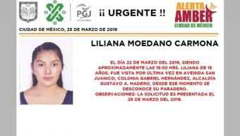 Foto: Alerta Amber para localizar a Liliana Moedano Carmona 26 marzo 2019