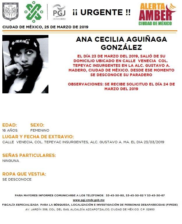 Foto: Alerta Amber para localizar Ana Cecilia Aguiñaga González 25 marzo 2019