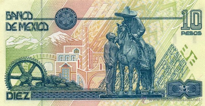 foto billete 10 pesos reverso