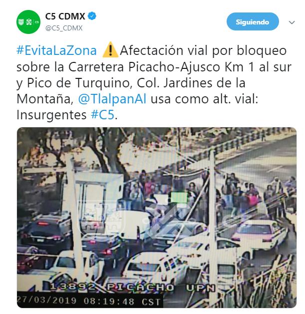 FOTO Bloqueo en carretera Picacho-Ajusco desata caos vial; vecinos exigen agua (Noticieros Televisa 27 de marzo 2019 cdmx)