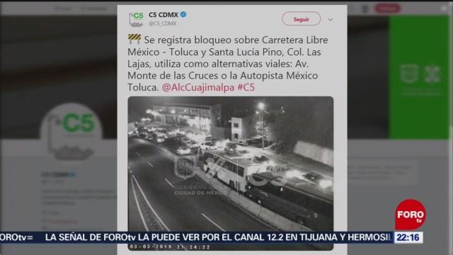 FOTO: Bloqueo en colonia Las Lajas en la Ciudad de Méxicoc, 3 marzo 2019