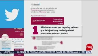 Foto: Borran Tuit Secretaría Bienestar México 11 de Marzo 2019